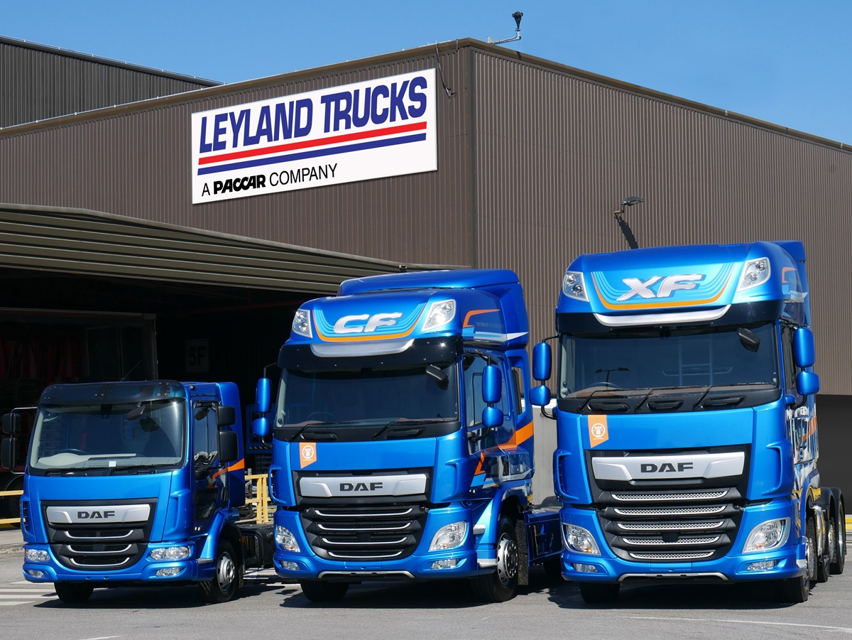 DAF LF CF XF in front of Leyland Trucks factory